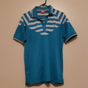 Puma Mens Golf Polo Teal with white V neck Sz M